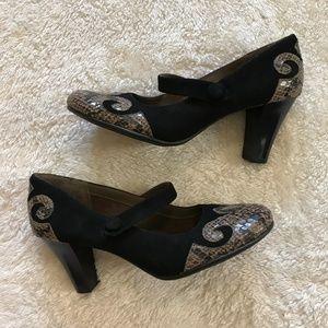 Aerosoles Role By Mary Jane Heels Black Snake 10